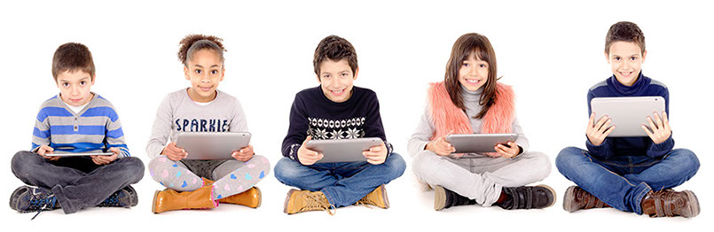 Five kids holding laptop computers